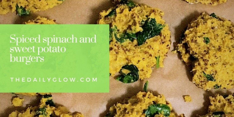 Spiced spinach and sweet potato burgers | The Daily Glow